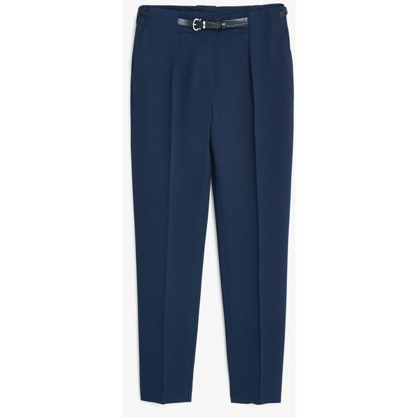 MANGO Belt Straight-Fit Trousers (£19) ❤ liked on Polyvore featuring pants, straight pants, blue pants, mango pants, mango trousers and blue trousers