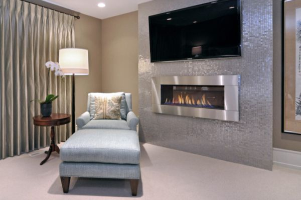 images of wall mounted tv with built in cabinets | Textured TV wall featuring a built-in fireplace underneath the TV