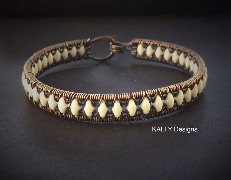Original design oxidised copper wire weave bracelet.
