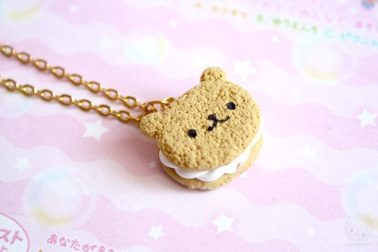Bear Cookie Necklace Polymer Clay Miniature Jewelry (PRE ORDER)