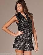 FRENCH CONNECTION  LUCINDA  SEQUIN COWL NECK PLAYSUIT *UK 16* BNWT *RRP £160