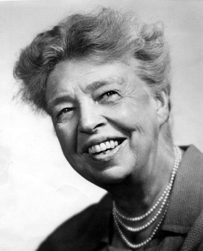 "Eleanor Roosevelt was first lady of the United States from 1933 to 1945.  She talked about civil rights for African Americans and spoke in favor of women's rights. President Harry Truman admired how she tried to bring equal rights, freedom, and dignity to all people. He called her the ""First Lady of the World."" #WomensHistoryMonth"