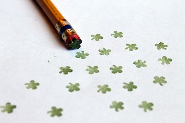 Pencil shamrock stamp!
