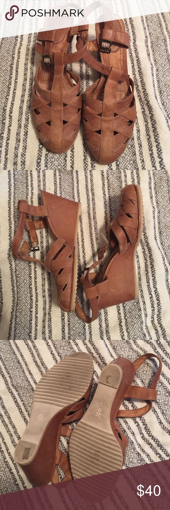 Frye Tan Leather Wedge Cute rubber sole leather wedges. Make an offer or bundle & save more!! :) Frye Shoes Wedges