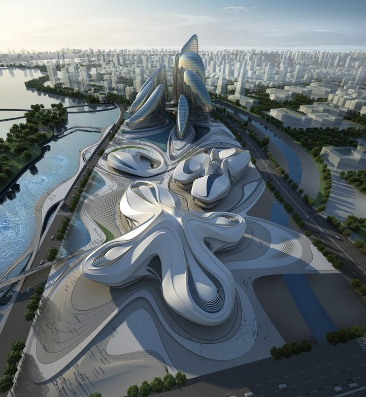 De renommée internationale, le cabinet d'architecture Zaha Hadid Architects a imaginé unremarquable ensemble de pavillons à Changsha en Chine.
