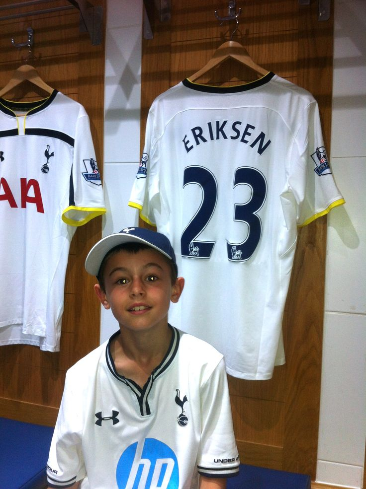 Harls visiting Tottenham Hotspur in the dressing room aged almost 8 with his favourite player Christian Erikson's shirt