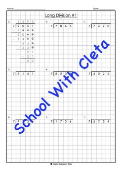 These worksheets are part of a series designed for kids as an introduction to long division worksheets using specific times tables (i.e. 7), which is great for children who may not be confident in knowing all their times tables.Plus the boxes / graph paper helps them reinforce keeping their working out organised and numbers in the correct place value column.Each dividend is 4 digits long and the answers (i.e.