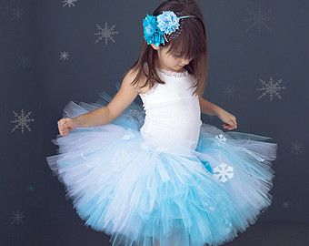 Tutu Skirt - Frozen Blue and White With Snowflakes