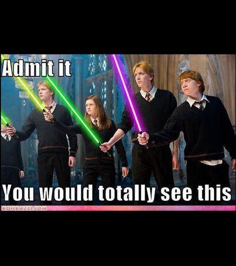 Photo : Parodie Star Wars 7: Harry Potter troque sa baguette contre un sabre laser/DR - Gentside