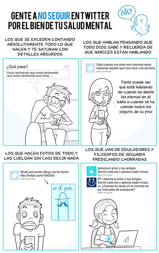 Gente a la que no seguir en Twitter por tu salud mental #infografia #infographic #sm