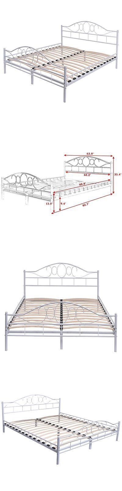 Beds and Bed Frames 175758: Queen Size Wood Slats Steel Bed Frame Platform Headboard Footboard Bedroom White -> BUY IT NOW ONLY: $119.99 on eBay!