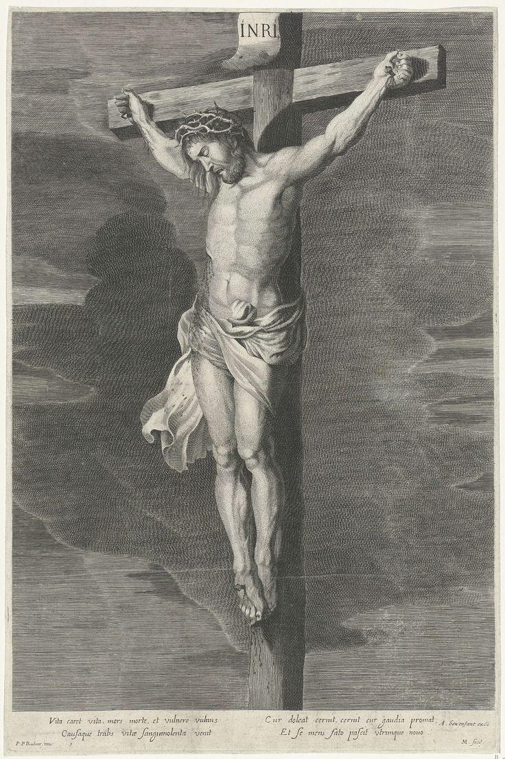 Adriaen Millaert   Christus aan het kruis, Adriaen Millaert, Antoine Bonenfant, 1645 - 1668   Christus aan het kruis, terwijl er bloed uit de wond in zijn zij loopt. Op de achtergrond donkere wolken. Onderaan in de marge een vierreglige tekst in het Latijn.