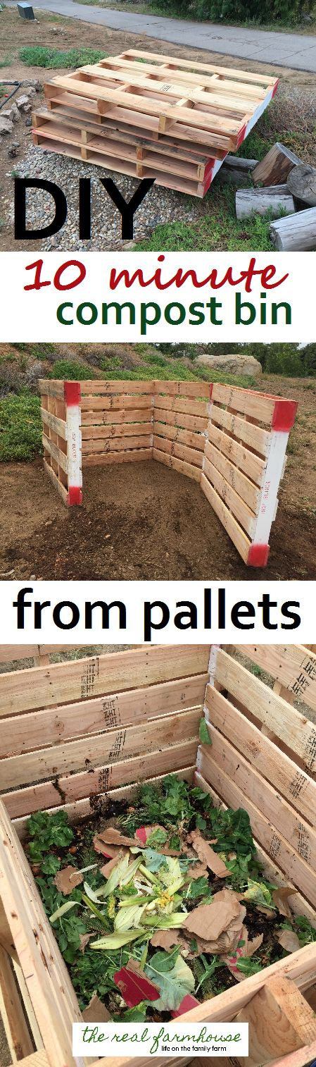DIY 10 minute pallet compost bin. Quick and easy classy looking compost project