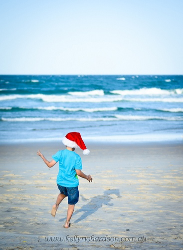 Australian Beach Christmas Elf.  Gold Coast Fine Art Children's Portrait Photography by Kelly Richardson, Burleigh Heads, Queensland, Australia. www.kellyrichards...