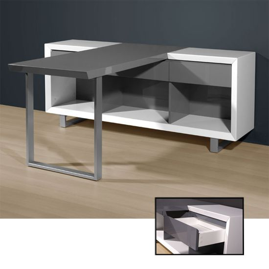 Media Office Writing Desk In High Gloss White Grey