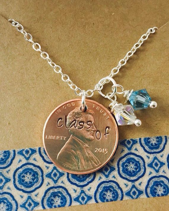 Hand Stamped Graduation Penny Necklace- Class of 2015 Necklace School Colors Personalized Penny Necklace