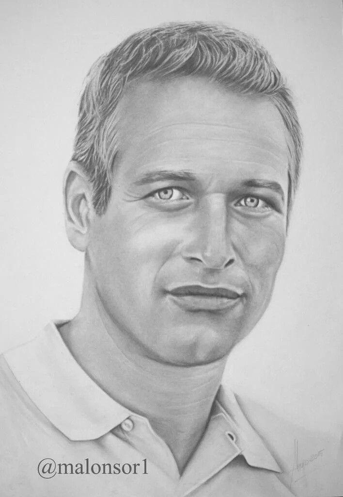 Paul Newman retrato a grafito pnturasmalonsor.jimdo.com