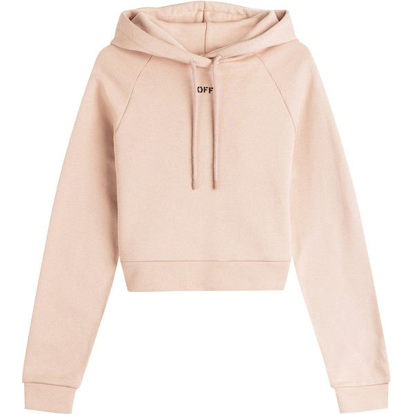 Off-White Cropped Cotton Hoody (£280) ❤ liked on Polyvore featuring tops, hoodies, sweaters, sweatshirt, beige, cropped hooded sweatshirt, off white hoodie, urban hoodies, hooded pullover and cropped hoodies