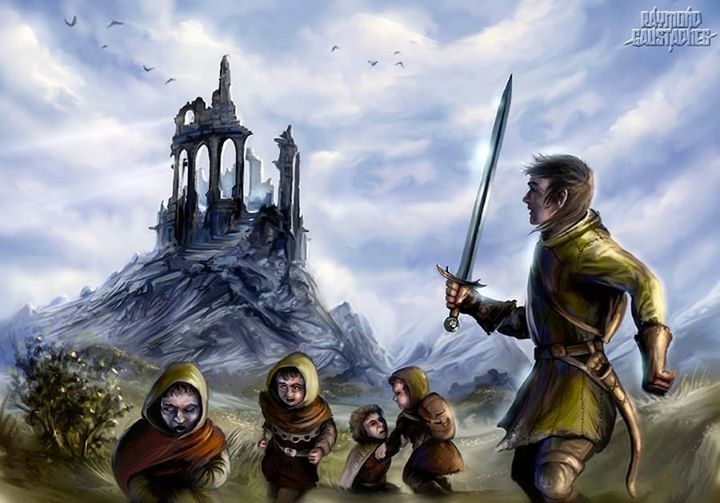 Aragorn & The Hobbits after the Weathertop Incident.  . . . . . . . . . .  #tolkien #tolkientribe #jrrtolkien #tolkienjrr #tolkienart #tolkienillustration #weathertop #lordoftherings #fellowshipofthering #lotr #lotrart #lotrmeme #hobbits #halflings #aragorn #ranger #strider #elessar #aragornelessar #thehobbit #frodo #frodobaggins #samwise #samwisegamgee #nazgul #nazgûl