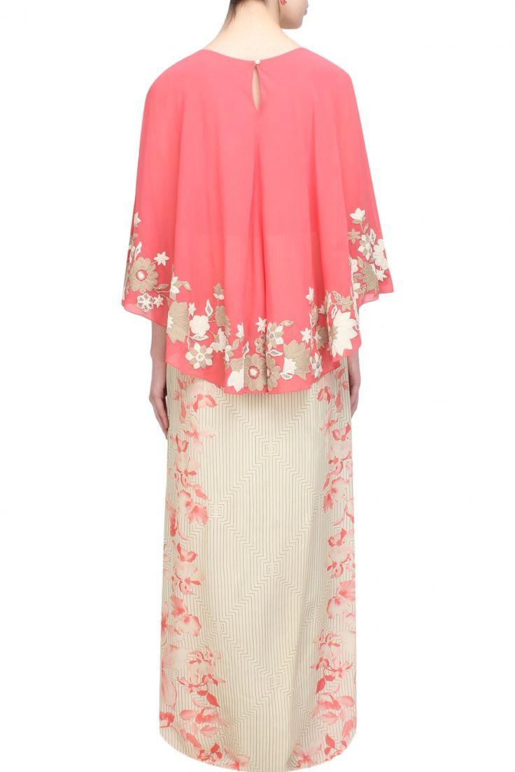 Namrata Joshipura Off white and opium print cape dress £235