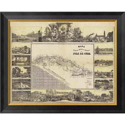Global Gallery Mapa Historico Pintoresca Moderno de al Isla De Cuba, 1853 by B. y Ca. May Framed Graphic Art on Canvas Size:
