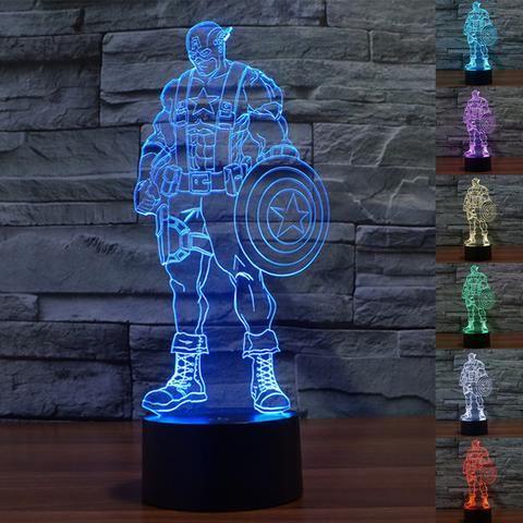Captain America 3D Illusion LED Lamp - Design 1