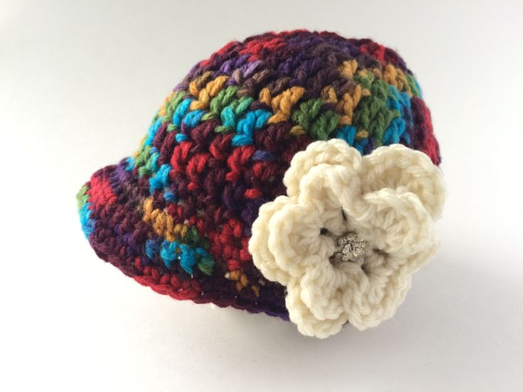 0-3 Months rainbow brim hat with Flower and Bling by hunnibeecrafts on Etsy