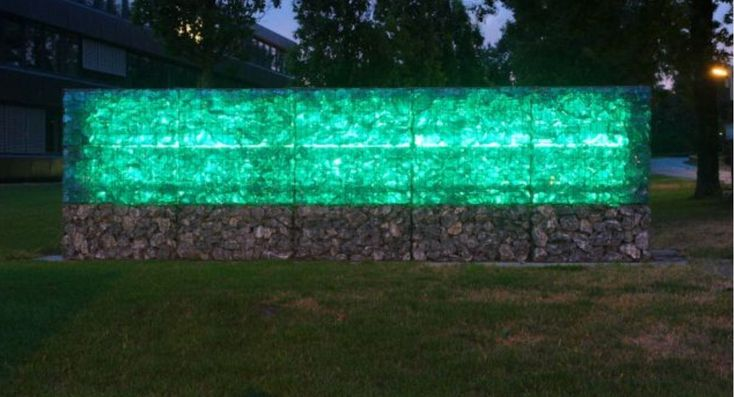 Gabion Wall With Glass Amp Led Lights Landscapes Gabion