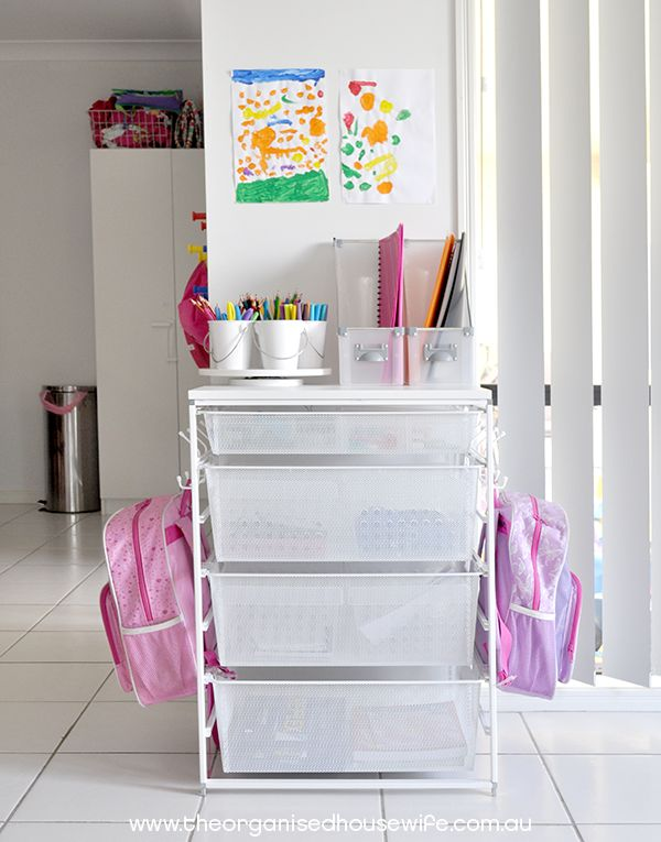 Eliminate disorganization & stress when nothing is in the right spot. 9 Easy Backpack station ideas to get organized & always find what you need. #organizekids