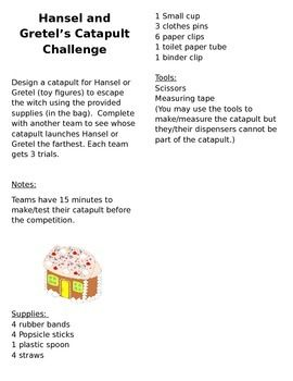 This STEM Fairy Tale Activity is for students in grades 2-5. They work in cooperative learning groups to make a catapult to save Hansel or Gretel from the witch, using their own creativity and simple supplies. This STEM Fairy Tale Activity is part of a larger STEM Fairy Tale Activity pack with 9 other STEM activities, also created by RandeesDandees.