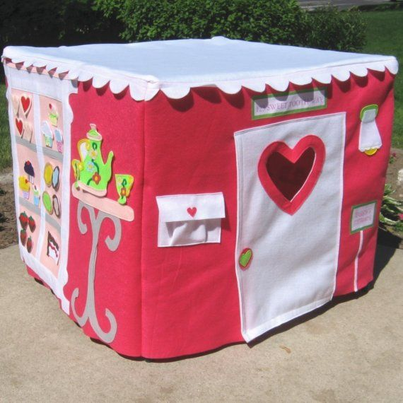 The CupCakery Card Table Playhouse, White Scalloped Roof, more tents..Brighter Colors, Custom Order, Personalized, 40 removable and replaceable pieces