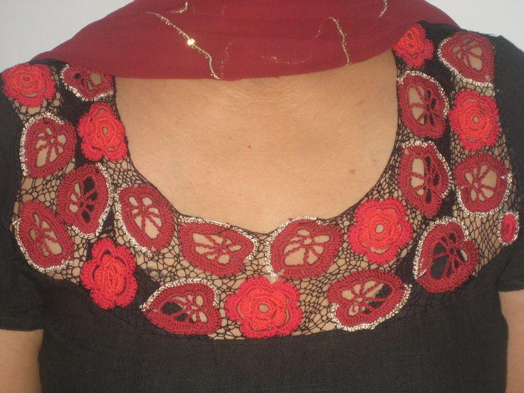 Floral crochet yoke