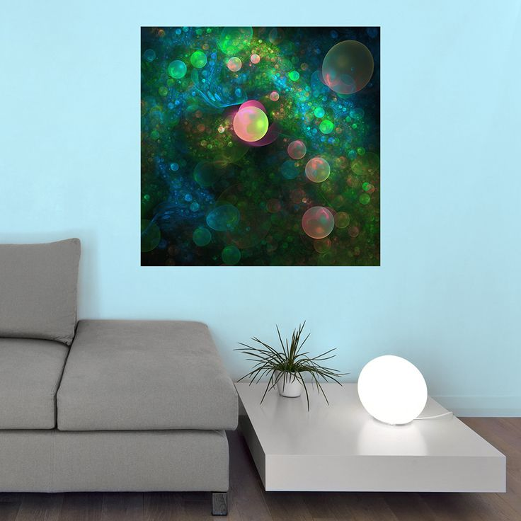 Whether you see a champagne supernova, cosmic bubbles or God having fun with soap in this ethereal and fantasy digital wall decal sticker, Inner Space by Lyle Hatch is undeniably spectacular. The colorful fractal art piece features a milky way of colorful space bubbles. You'll love the usability of our fabric sticker material, as it will easily peel, stick and re-stick to any surface. Try it on walls, mirrors, doors, windows – effortless installation guaranteed! Inner Space is available in…