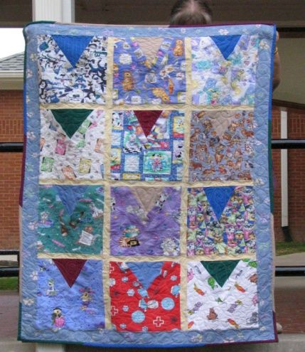 Quilt made out of old scrubs!!!! I think I m totally gonna do this. I have tons of tops my Mama ...