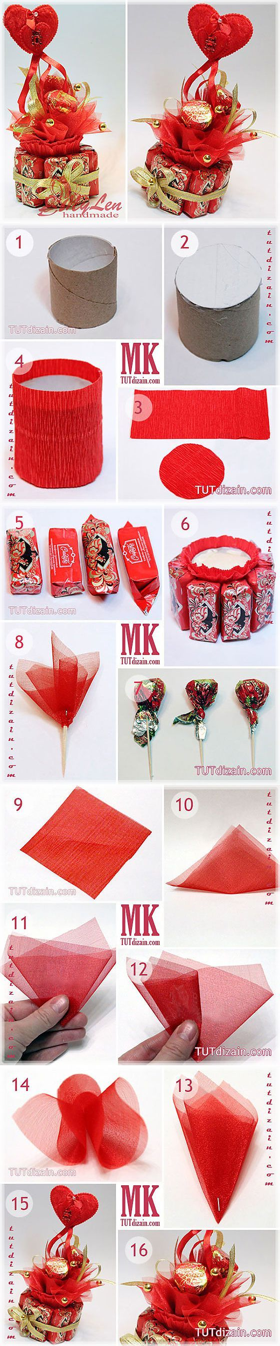 Crepe paper, tulle, cardboard tube w/ styrofoam, & skewer sticks; ribbon & beads or sequins for embellishments.