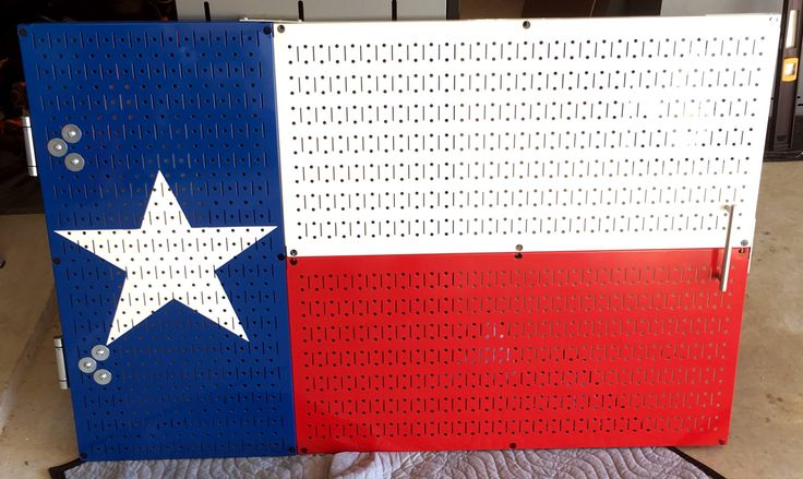 Don't be afraid to get creative with your Wall Control pegboard. Here is a really cool Texas flag door made with Wall Control pegboard panels and some great creativity. Thanks for the great customer photos Craig and very cool application of the product!