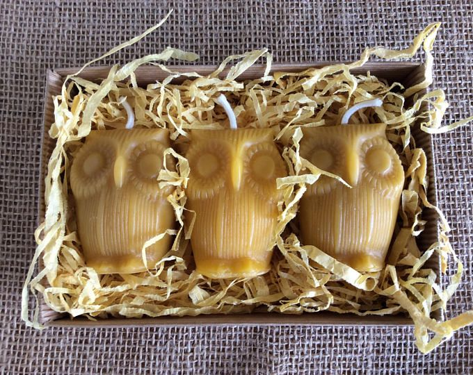 Beeswax Candle Gift Set, Owl Candle Gift Set, Organic Beeswax Candles, Owl Candles, Beeswax Candles, Votive Candles, Animal Candles, Organic