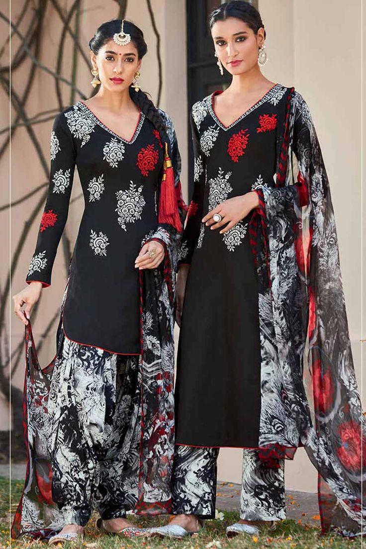 Black & Multi Pure Cotton Satin Unstitch Patiala Suit