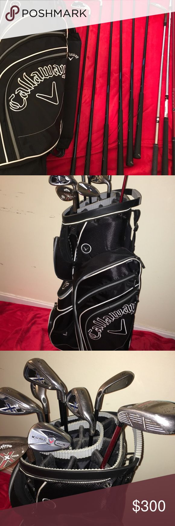Callaway Golf cart bag and clubs Callaway Golf Bag and Clubs for right hand golfer: irons included 3,4,5,6,7,8,9 and putter X20....  Very good condition, my father don't golf anymore so I am selling them. just sitting in the storage decided to make so extra cash for Holidays Price will include extra shipping cost Callaway Other