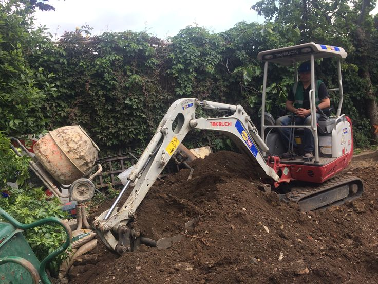 Digger starting excavation.