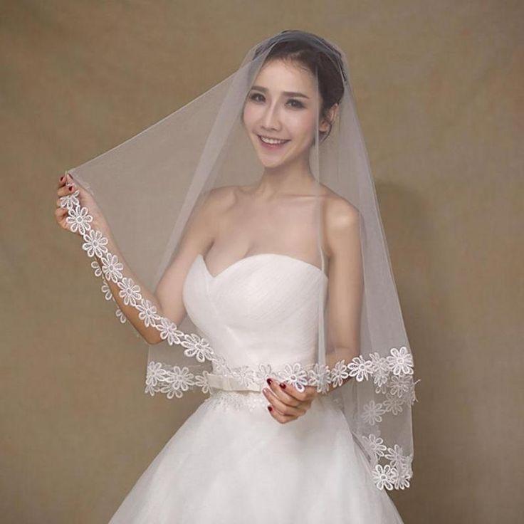 korean bridal veil 1.5 m lace veil marriage simple wedding short paragraph white lace wedding bride dress up supplies A2