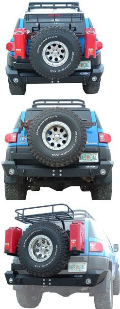 """LoD 07-09 Toyota FJ Cruiser Rear Bumper with Tire Carrier  Finally a tire carrier for your FJ that is built to handle up to a 37"""" spare! This all new bumper/tire carrier features integra .."""