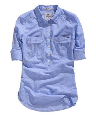 Look at this #zulilyfind! Light Lavender Blue Button-Up Top #zulilyfinds