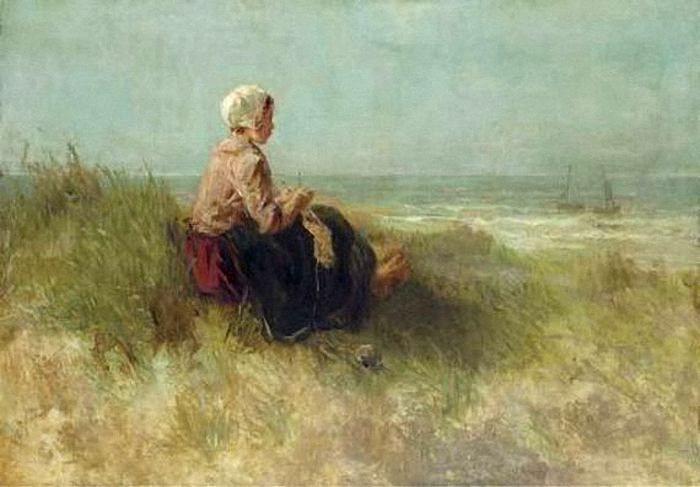 Jozef Israëls - Meisje in de duinen wachtend op de terugkeer van haar visser.