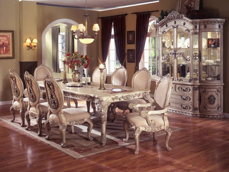 AMB Furniture Design Dining Room Table Sets White Wash Finish 7 Pc Alexander I Collection Antique Wo
