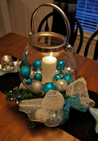 2013 Christmas Centerpiece Ideas Decoration : Can change the color of ornaments and ribbon to match Christmas decor