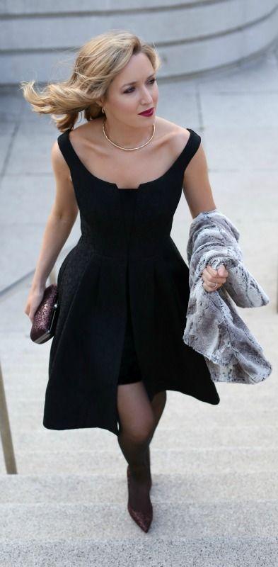 black lace off-the-shoulder midi cocktail dress, sheer tights, cowl-neck oversized fur topper, burgundy sparkle pointy toe pumps, burgundy sparkle minaudière, gold choker + deep lip {white house black market, #seasonofstyle}