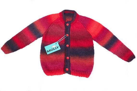 Ruby treasure hand made artistic woolen boy cardigan size 110, 3-3.5years