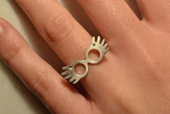 Adjustable Sterling SILVER 925 geek, delicate and funny Luna Lovegood Ring. Totally HANDMADE piece of jewelry for geeky outfits! Everything is