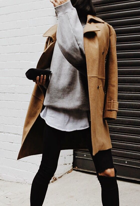 Winter outfit//camel coat//black jeans//grey sweatshirt